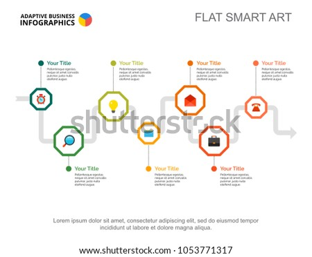 Seven Steps Process Chart Business Data Stock Vector Royalty Free