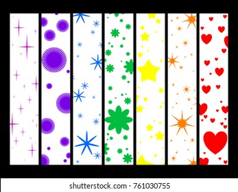 seven styles of bookmarks. rainbow color concept. vector illustration.