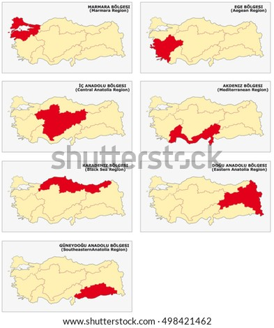 Seven Survey Maps Seven Turkish Geographical Stock Vector (Royalty on