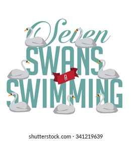 Seven swans a swimming 12 days of Christmas EPS 10 vector royalty free illustration.