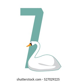 Seven swans a swimming Christmas illustration. EPS 10 vector.