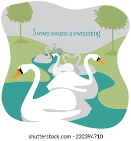 Seven swans a swimming Twelve Days of Christmas EPS 10 vector illustration