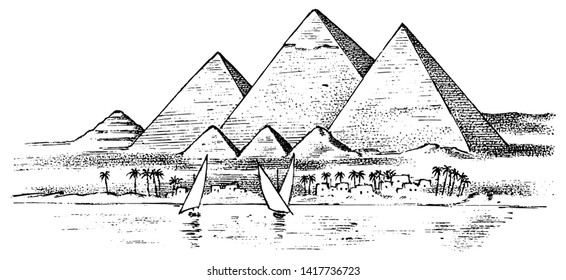 Seven Wonders of the Ancient World. Great Pyramid of Giza. The great construction of the Greeks. Hand drawn engraved vintage sketch.