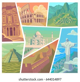 Seven wonders of the modern world vector illustration Great Wall of China Petra The Colosseum Chichen Itza Machu Picchu Taj Mahal Christ the Redeemer