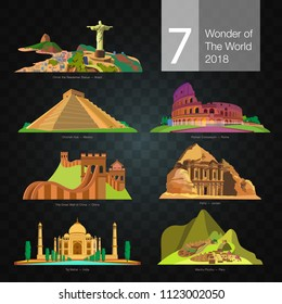 Seven wonders of the world on the dark background.
