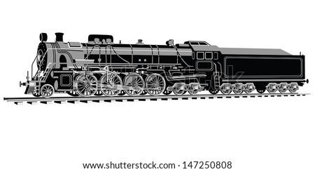 Sevenaxle Locomotive Three Colors Stock Vector (Royalty Free