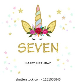 Seventh birtday. Seven. Unicorn Birthday invitation. Party invitation greeting card