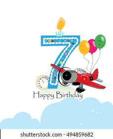 Seventh birthday images stock photos vectors shutterstock seventh birthday greeting card air plane and balloon happy birthday boy greeting card m4hsunfo