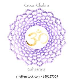 seventh crown chakra Sahasrara on purple watercolor background. Yoga icon, healthy lifestyle concept. vector illustration