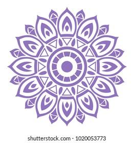 The seventh mandala purple chakra. Yoga image for meditation.