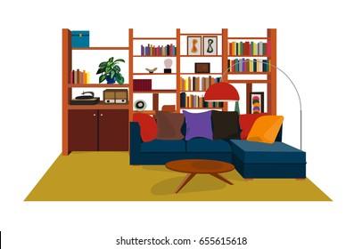 seventies 1970s interior design style. vector illustration. retro vintage furniture.