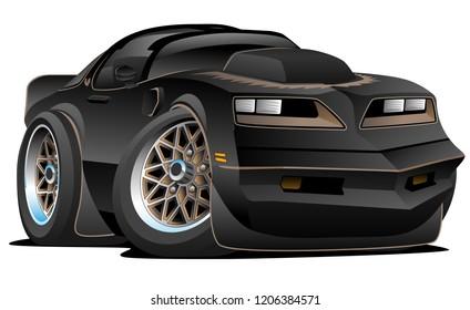 Seventies Classic Muscle Car Cartoon Vector Illustration