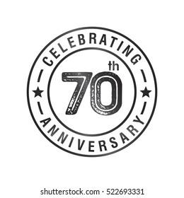 Seventy anniversary celebration logotype. 70th anniversary logo collection. Anniversary label. Anniversary logo template. Anniversary sign. Vector Illustration