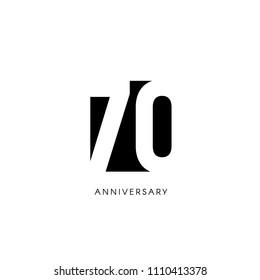 Seventy anniversary, minimalistic logo. Seventieth years, 70th jubilee, greeting card. Birthday invitation. 70 year sign. Black negative space vector illustration on white background