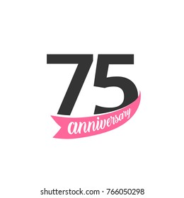 Seventy fifth Anniversary vector logo. Number 75. Illustration for greeting card, invitation, poster, marriage, commemoration, certificate