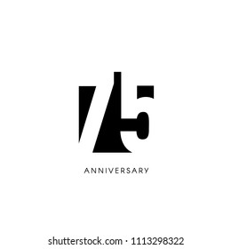 Seventy five anniversary, minimalistic logo. Seventy-fifth years, 75th jubilee, greeting card. Birthday invitation. 75 year sign. Black negative space vector illustration on white background