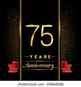 seventy five years anniversary celebration logotype. 75th anniversary logo with confetti golden colored and ribbon isolated on black background, vector design for greeting card and invitation card