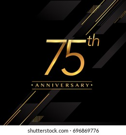 seventy five years anniversary celebration logotype. 75th anniversary logo golden colored isolated on black background, vector design for greeting card and invitation card.