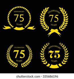 Seventy five years Anniversary laurel golden label set vector