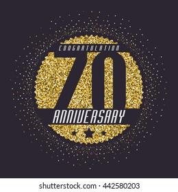 Seventy years anniversary celebration logotype. 70th anniversary logo.