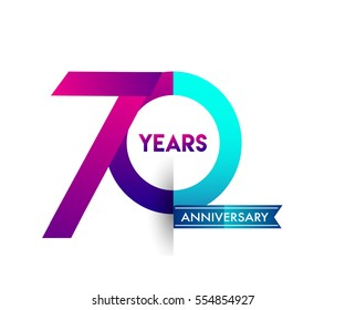 seventy years anniversary celebration logotype colorfull design with blue ribbon, 70th birthday logo on white background