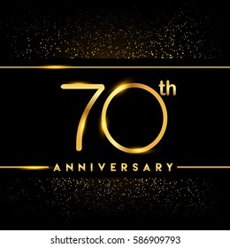 seventy years anniversary celebration logotype. 70th anniversary logo with confetti golden colored isolated on black background, vector design for greeting card and invitation card
