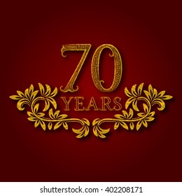 Seventy years anniversary celebration patterned logotype. Seventieth anniversary vintage golden logo with shadow.