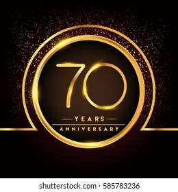 seventy years birthday celebration logotype. 70th anniversary logo with confetti and golden ring isolated on black background, vector design for greeting card and invitation card