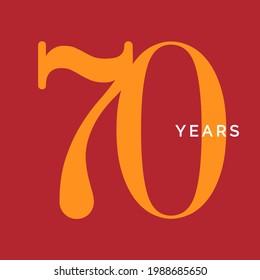 Seventy years symbol. Seventieth birthday emblem. Anniversary sign, number 70 logo concept, vintage poster template, vector illustration