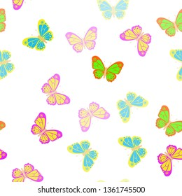 Several beautiful multicolored butterflies on the background. Seamless Wallpaper pattern.