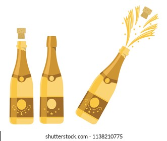 Several bottles of champagne being opened, vector illustration
