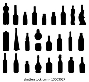 Several bottles type silhouettes
