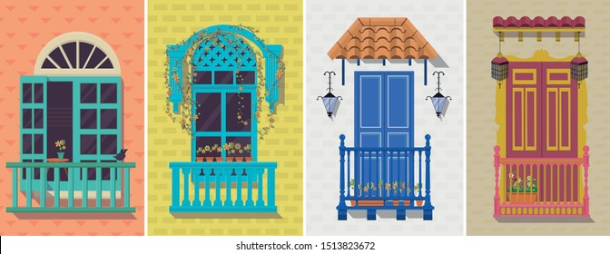 several colonial balconies vector illustrations