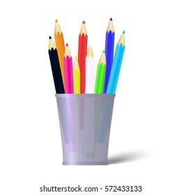 Several color pencils in a cup. Vector Illustration
