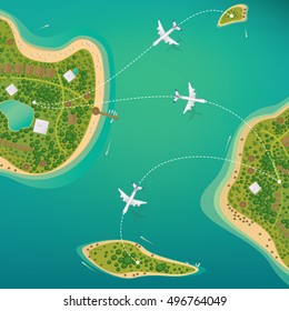 Several different sizes of tropical islands with beaches and houses. Around float boats and planes fly. View from above. Air traffic or domestic flights concept. Vector illustration