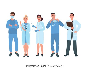 Several doctors in medical uniforms. Medical specialist. Vector illustration of people in healthcare