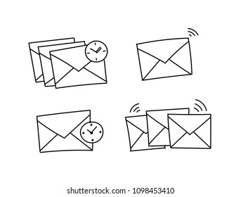 Several envelopes waiting to be send Closed envelope waiting. Vector stock clipart illustration. Hand drawn black line.