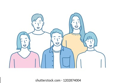 Several friends are gathering and looking ahead. hand drawn style vector design illustrations.