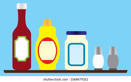 Several generic condiments on a wooden shelf