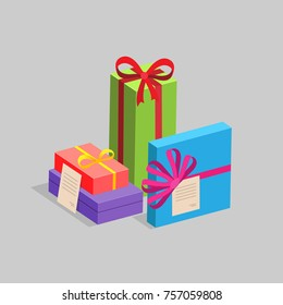 Several gift boxes of different colors and shapes. Vector illustration.