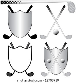 Several Golfing Logos with Clubs, Ball and Shields