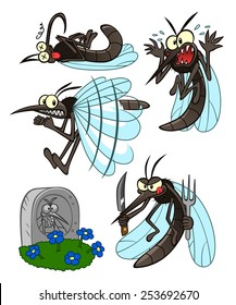 Several illustrations with cartoon mosquito for theme parasitic insect.