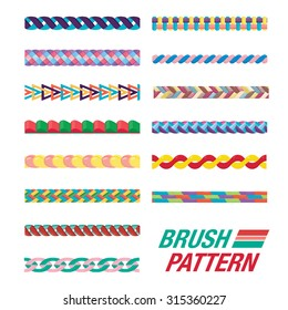 Several Line pattern. Set of Brush pattern. Colorful curve for line pattern.