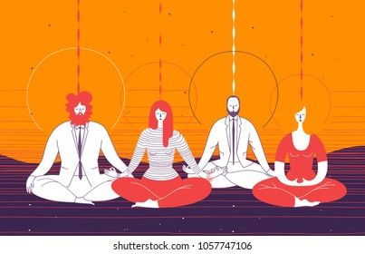 Several office workers in smart clothing sit in yoga position and meditate. Concept of business meditation, mindfulness, concentration, and team building activity. Vector illustration for poster.