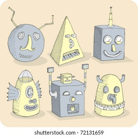Several old-school robot heads