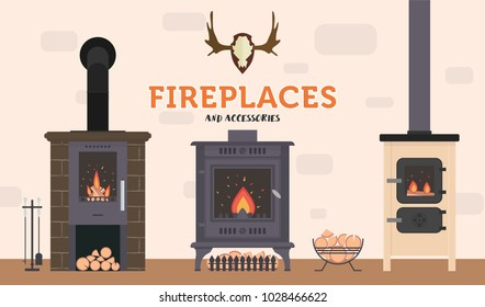 Several ovens and accessories to them. Stone and brick classical and modern fireplaces. Fire and firewood. Reindeer antlers on the wall.