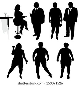 Several people are dancing. Obese people. Vector silhouettes