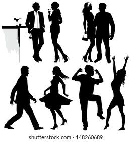 Several people are dancing on the party, vector silhouettes