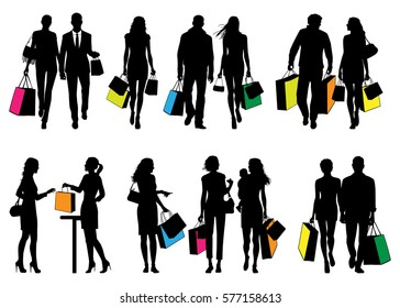 Several people in shopping center - vector silhouettes