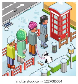 Several people waiting in front of phone booth to use the telephone in cold wintertime (vector cartoon)